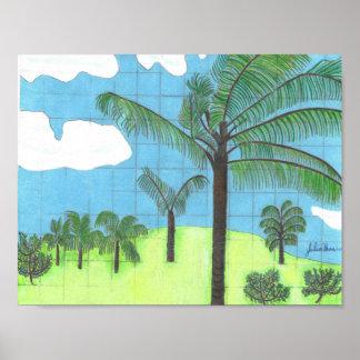 Die hawaiischen Palmen durch Julia Hanna Poster