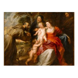 Die heilige Familie mit Heiligen Postkarte