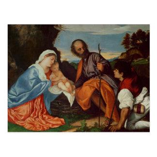 Die heilige Familie und ein Schäfer, c.1510 Postkarte