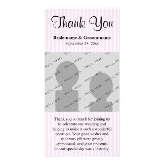 Die hellrosa Wedding Streifen danken Ihnen Personalisierte Foto Karte