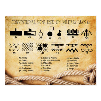 Die herkömmlichen Zeichen, die auf Militär benutzt Postkarte
