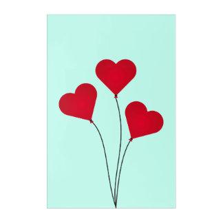 Die Herz-Ballone Acryl Wandkunst