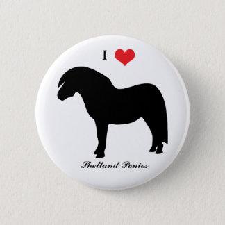 Die Herz-Shetlandinseln-Ponys der Liebe I, Knopf, Runder Button 5,7 Cm