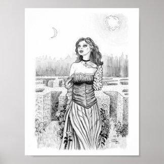 Die Hexe des Liebhabers im Garten Poster