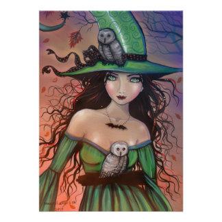 Die Hexe und die Eulen-kleine Postkarte