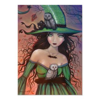 Die Hexe und die Eulen-kleine Postkarte 12,7 X 17,8 Cm Einladungskarte