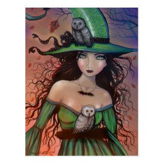 Die Hexe-und Th Eulen-Postkarte Postkarte