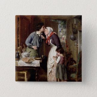 Die Hingabe eines Sohns, 1868 (Öl auf Leinwand) Quadratischer Button 5,1 Cm