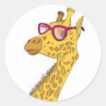 Die Hipster-Giraffe Runder Aufkleber