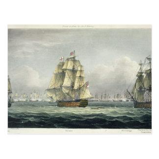 Die HMS Victory, die für die französische Linie Postkarte