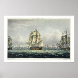 Die HMS Victory, die für die französische Linie se Poster
