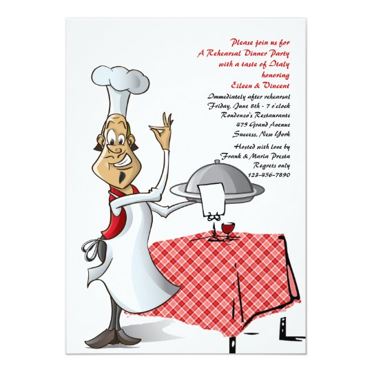 die hochzeits-proben-abendessen-einladung des koch karte | zazzle, Einladung