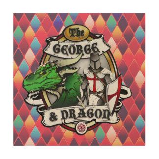Die hölzerne Wand Kunst Georges und der Drache-
