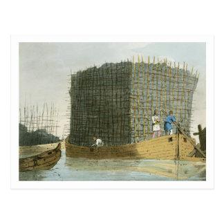 Die Holzkohlen-Barke, geätzt vom Künstler, Postkarte