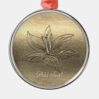 Die hübsche Blumen Goldlilien-Blume addieren Silbernes Ornament