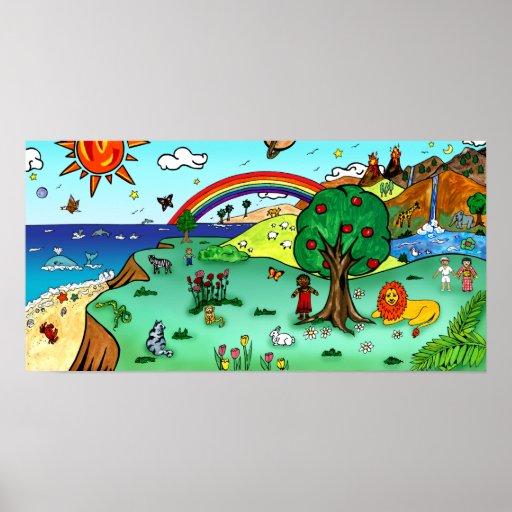Die idyllische Landschaft der Kinder -- Paradies Plakat