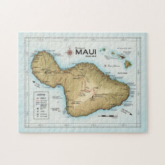 Die Insel der Puzzlespielkarte Mauis [Atlas Puzzle