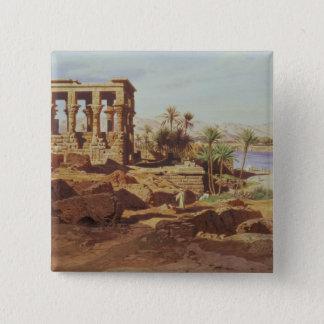 Die Insel von Philae, 1866 (w/c) Quadratischer Button 5,1 Cm