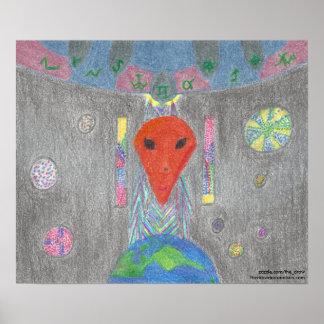 Die Interaktion UFO-Erde und das alien-Plakat Poster