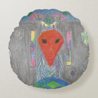Die Interaktion UFO-Erde und das alien-runde Rundes Kissen
