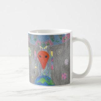 Die Interaktion UFO-Erde und die alien-Tasse Kaffeetasse