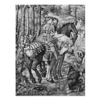 Die Jagden von Maximilian, Löwe, die Hirsch-Jagd Postkarte