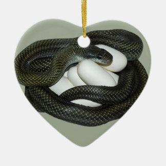 Die japanische Ratten-Schlange, schönes und Keramik Herz-Ornament