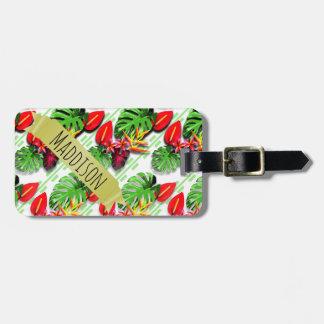 Die jugendlich Mädchen-personalisiertes tropisches Gepäckanhänger