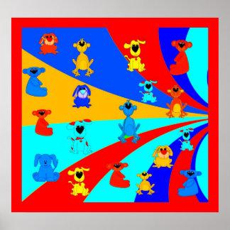 Die Jungen-Lose des Plakat-Kindes Tier-Collage 2 Poster