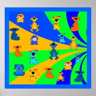 Die Jungen-Lose des Plakat-Kindes Tier-Collage Poster