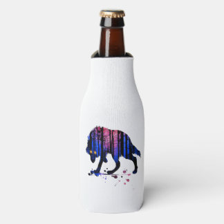 Die Jungen-Wolf-Galaxie-Stern-WaldSilhouette der Flaschenkühler