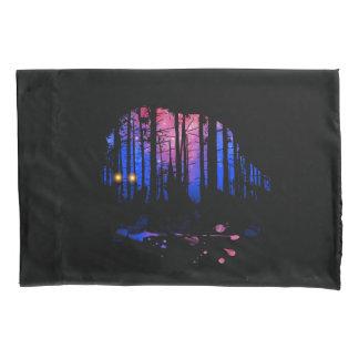 Die Jungen-Wolf-Galaxie-Stern-WaldSilhouette der Kissenbezug