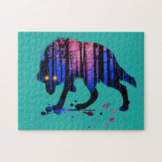 Die Jungen-Wolf-Galaxie-Stern-WaldSilhouette der Puzzle