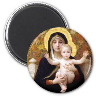 Die Jungfrau der Lilien Runder Magnet 5,7 Cm