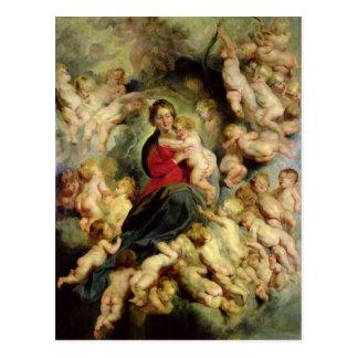 Die Jungfrau und das Kind umgeben Postkarten