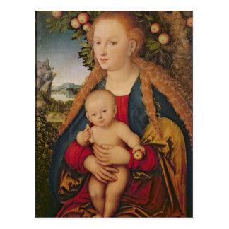 Die Jungfrau und das Kind unter einem Apfelbaum Postkarte