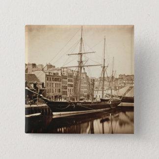 """Die Kaiseryacht """"La Reine Hortense"""" bei Le Havre Quadratischer Button 5,1 Cm"""