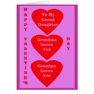Die Karte des Valentinsgrußes für Enkelin