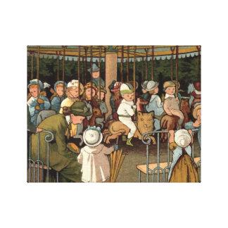 Die Karussell-Vintage Illustration Leinwanddruck