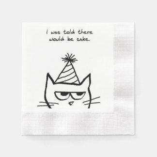 Die Katze hasst Geburtstage - lustige Serviette