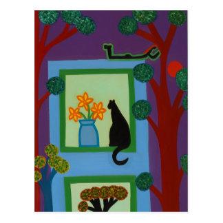 Die Katze von schiefwinkligem Halbmond 2008 Postkarte
