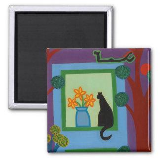 Die Katze von schiefwinkligem Halbmond 2008 Quadratischer Magnet