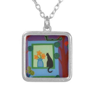 Die Katze von schiefwinkligem Halbmond 2008 Versilberte Kette