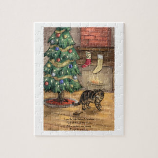 Die Katze vor Weihnachtspuzzlen Puzzle