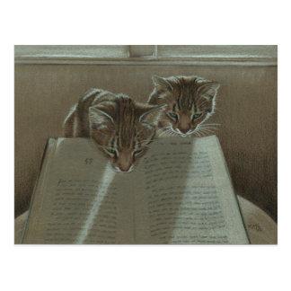 Die Katzen, die mir helfen, lasen Buchpostkarte Postkarte
