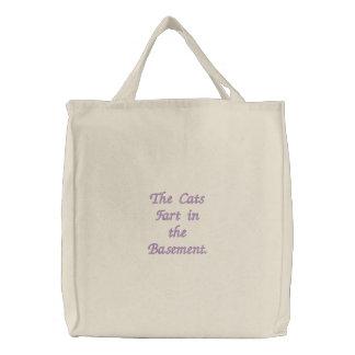 Die Katzen-Furz im Keller Bestickte Einkaufstasche