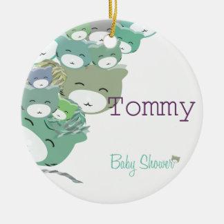 Die kinder blauen Kätzchen, baby unterhält shower Rundes Keramik Ornament
