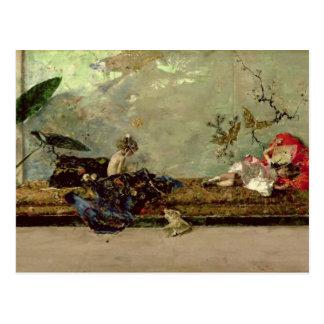 Die Kinder des Malers im japanischen Salon Postkarten