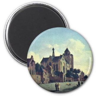 Die Kirche bei Veere., bis Januar Van Der Heyden Runder Magnet 5,7 Cm