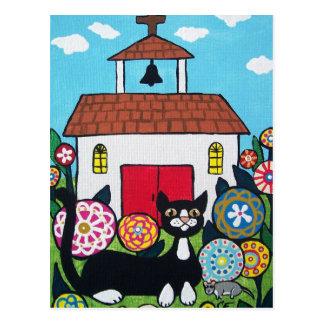 Die Kirchen-Wächter Katze und Mäusepostkarte Postkarte